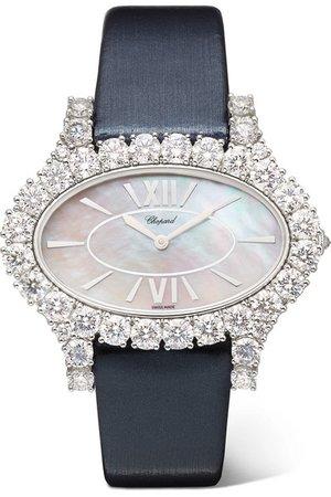 Chopard | L'Heure du Diamant 27.50mm 18-karat white gold, satin, diamond and mother-of-pearl watch | NET-A-PORTER.COM