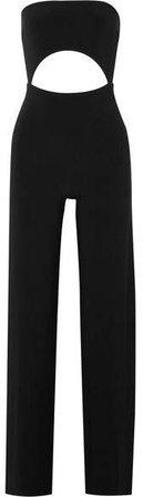 Strapless Cutout Stretch-jersey Jumpsuit - Black