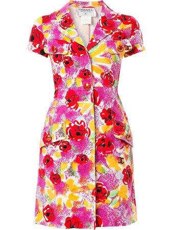 Chanel Camelia Print Shirt Dress