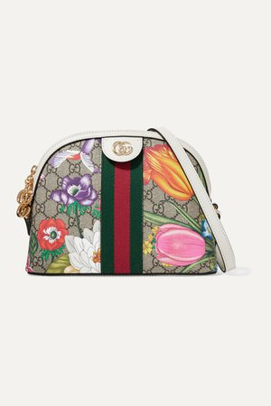Neutral Ophidia textured leather-trimmed printed coated-canvas shoulder bag | Gucci | NET-A-PORTER
