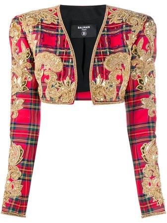 Balmain Tartan Embroidered Bolero Jacket - Farfetch