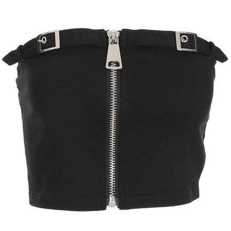 COPI COPI Strapless Adjusting Sequined Buckle Zipper Top