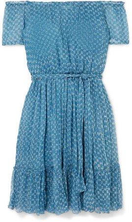 Cloe Cassandro - Pam Pam Off-the-shoulder Ruffled Printed Silk-crepon Mini Dress - Blue