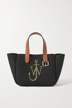 Belt Mini Leather-trimmed Embroidered Canvas Tote - Black