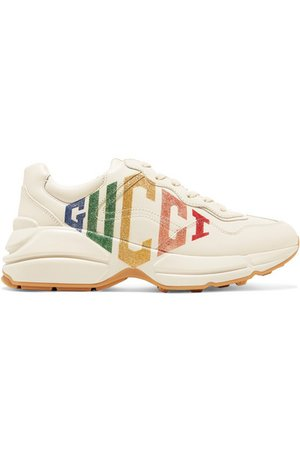 Gucci   Rhyton metallic logo-print leather sneakers   NET-A-PORTER.COM