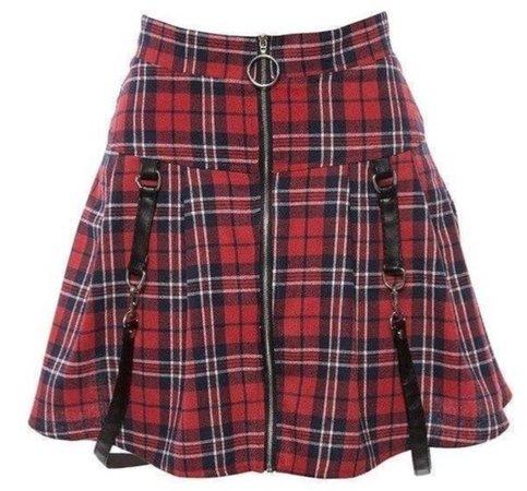 Red Devil Plaid Strap Mini Skirt