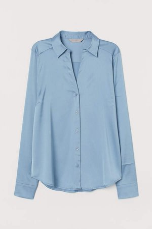 V-neck Blouse - Blue
