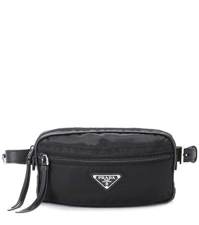 Leather-trimmed belt bag