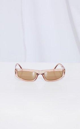 Brown Square Slimline Sunglasses | PrettyLittleThing USA