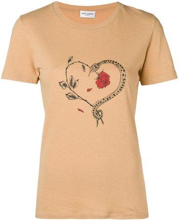 snake heart print T-shirt