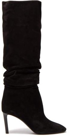 Mica Slouched Suede Boots - Womens - Black