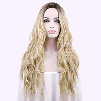 """Amazon.com : aSulis Natural Long Wavy Wig Dark Roots Ombre Blonde Wig Middle Parting Synthetic Replacement Wig 28"""" (Blonde) : Beauty"""