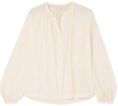 DÔEN - The Jane Gathered Cotton-blend Voile Blouse - Ecru