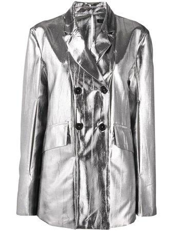 Ann Demeulemeester metallic-print Double Breasted Blazer - Farfetch