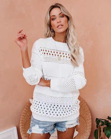 Love By The Moon Cotton Pointelle Sweater – VICI