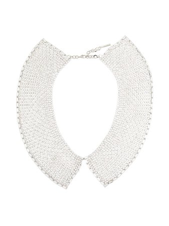 Shop metallic Alessandra Rich silver-tone crystal necklace with Express Delivery - Farfetch