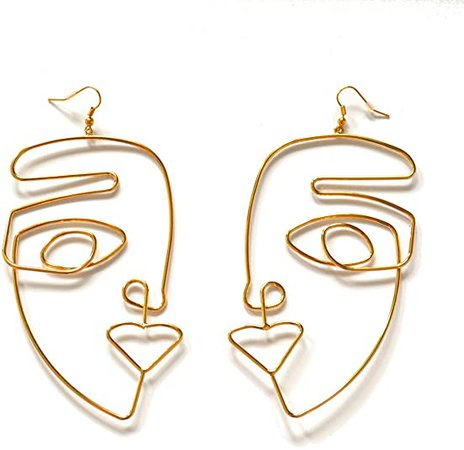 "Amazon.com: Women's BIG Statement Abstract Face Dangle Earrings, Gold Drop Earring, 4.8""x2.6"": Jewelry"