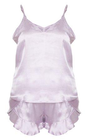Lilac Satin Cami & Flippy Short Pj Set | PrettyLittleThing USA lilac