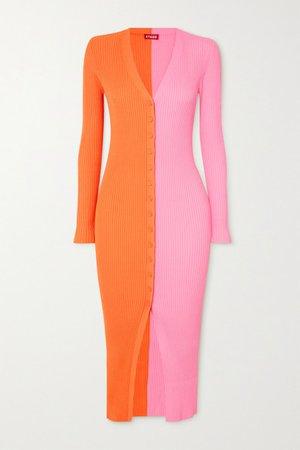 Shoko Two-tone Ribbed Stretch-knit Cardigan - Orange