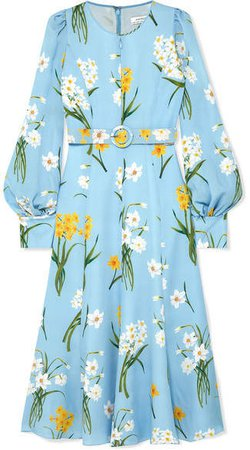 Belted Floral-print Silk Midi Dress - Blue