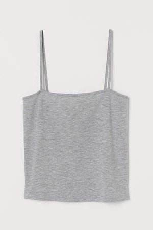 Cropped Jersey Camisole Top - Gray