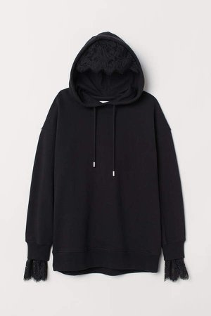 Oversized Hooded Sweatshirt - Black