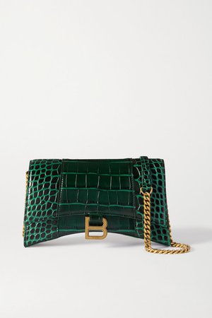 Hourglass Croc-effect Leather Tote - Dark green