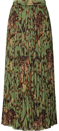 The Act Of Nature Pleated Printed Crepon Midi Skirt - Green