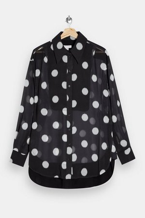 Black Sheer Spot Oversized Blouse | Topshop