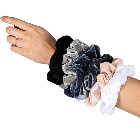Amazon.com : HARLOW Designer Velvet Scrunchies for hair, BigScrunchies Velvet Packs for VSCO stuff, Hair Scrunchies - 6 Pack (Neutral) : Beauty