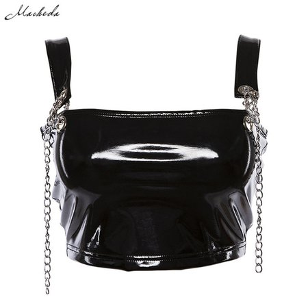 Macheda Black Stretchy PU Leather Zipper Tank Top Women Crop Top 2018 New Fashion Party Club Wear Sexy Chain Camisole -in Camis from Women's Clothing on Aliexpress.com | Alibaba Group