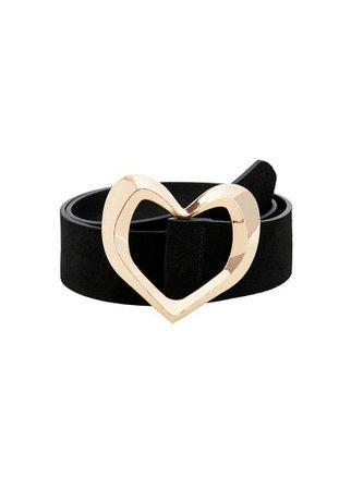 MANGO Heart leather belt