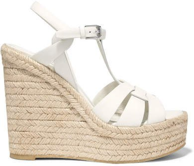 Tribute Leather Espadrille Wedge Sandals - White