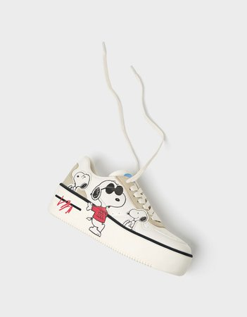 Snoopy platform sneakers - New - Bershka United States