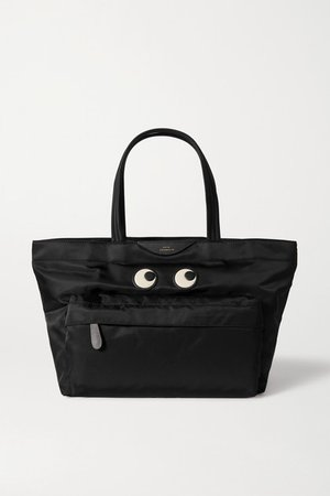 Eyes Leather-trimmed Shell Tote - Black