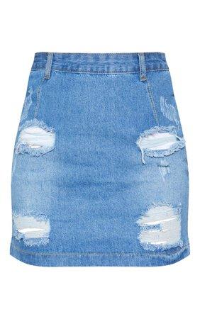 Roschian Super Distress Light Wash High Waisted Denim Mini Skirt | PrettyLittleThing USA