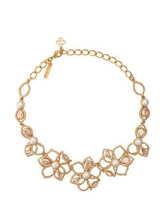 Oscar De La Renta Pavé Petal Necklace R20J010GOL Gold | Farfetch
