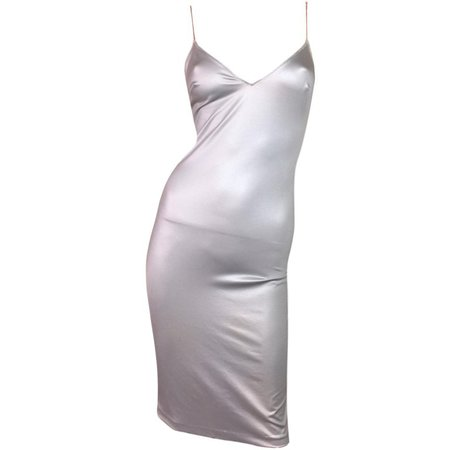 1990's Dolce and Gabbana Liquid Silver Chain Strap Slinky Slip Dress For Sale at 1stdibs