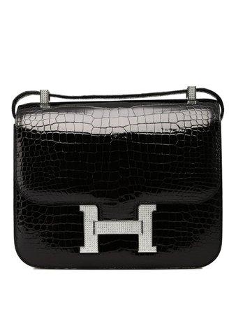 Hermès Constance 24 Shiny Black Noir Porosus with White Gold & Diamond Hardware - Kabinet Privé