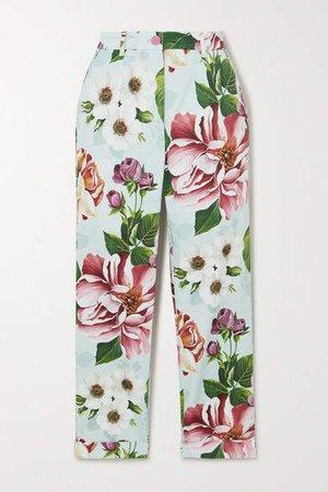 Cropped Floral-print Cotton-blend Twill Slim-leg Pants - Blue