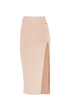 Stone Slinky Button Detail Split Leg Midaxi Skirt | PrettyLittleThing USA