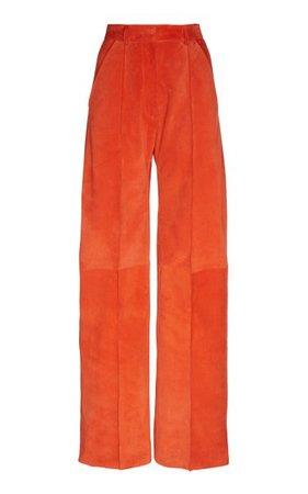 Suede Calfskin High Waisted Pant By Minuit | Moda Operandi