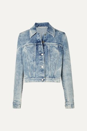 Net Sustain Embroidered Distressed Denim Jacket - Blue