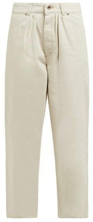 Pleated High Rise Jeans - Womens - Ivory
