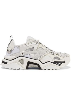 CALVIN KLEIN 205W39NYC | Leather, suede and mesh sneakers | NET-A-PORTER.COM