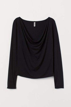 Draped Jersey Top - Black