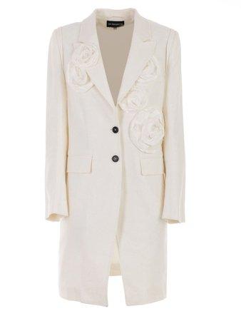 Ann Demeulemeester Ann Demeulemeester Ann Demeulemeester Flower Applique Coat - Off White Roses - 10900354   italist
