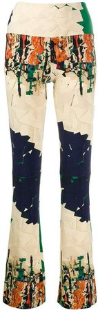 abstract print high-waisted trousers