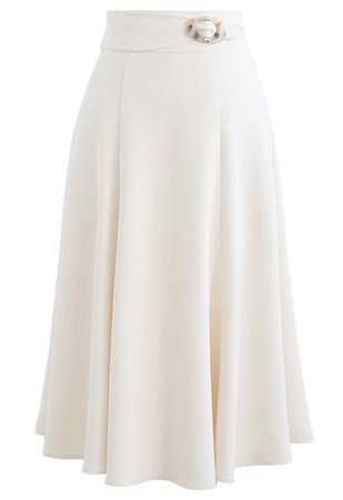 Marble Buckle Belted Flare Midi Skirt in White - Retro, Indie and Unique Fashion
