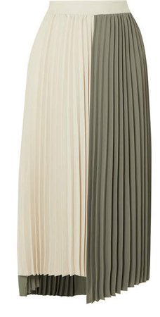 Frankie Shop Two-tone Pleated Crepe Midi Skirt - Army green